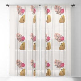 Hand Painted Pastel Bonsai Leaf Sheer Curtain