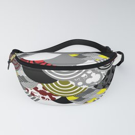 Nature background with japanese sakura flower, Cherry, wave circle Black gray white Red Yellow color Fanny Pack
