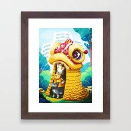 Lion Dancing Cats Framed Art Print