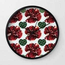 Garnets and fractal hearts Wall Clock