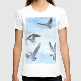 Gulls In Flight Watercolor T-shirt