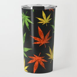 Cannabis. Grunge pattern Travel Mug