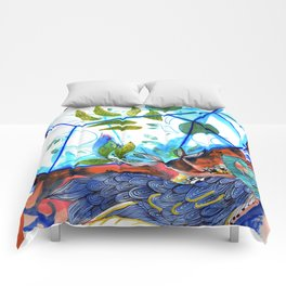 Mermaid blue and red Comforters