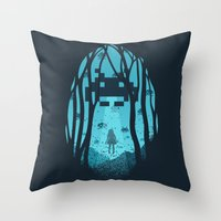 8 bit Throw Pillows featuring 8 Bit Invasion by filiskun