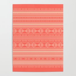 Coral Tribal Pattern  Poster