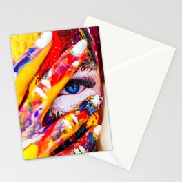 Women with paint on her hands and face Stationery Cards