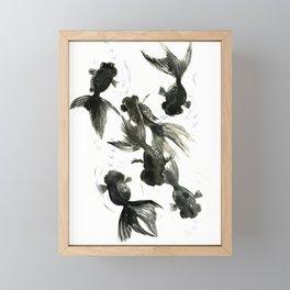 Black Moor, Feng Shui art, black fish zen painting Framed Mini Art Print
