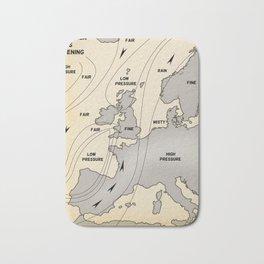 British Isles vintage weather map poster Bath Mat
