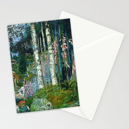 Wilderness Landscape, Wild Foxglove Flowers, White Birch, Stream & Cattle by Nikolai Astrup Stationery Cards