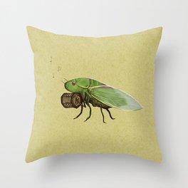 Cicada Playing a Sqeezebox Throw Pillow