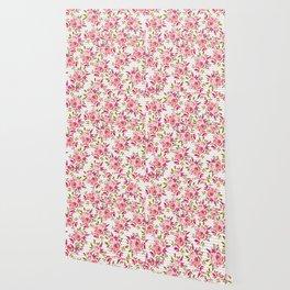 Geometrical pastel pink coral watercolor roses zigzag pattern Wallpaper