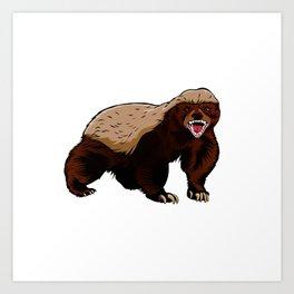 Honey badger illustration Art Print