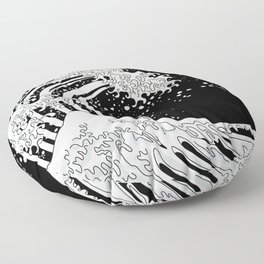 Black and White Great Wave Floor Pillow