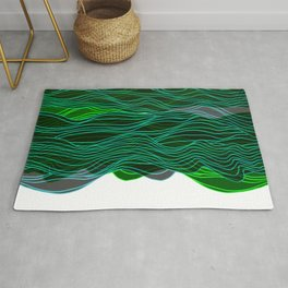 Parallel Lines No.: 03. - Blue-Green, Symmetrical Rug