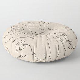 Faces In Beige Floor Pillow