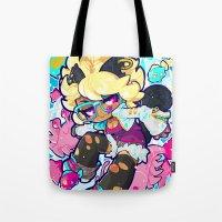 barachan Tote Bags featuring dive by barachan