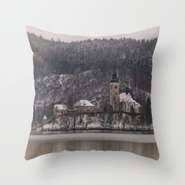 Bled Island Dusted With Snow Throw Pillow
