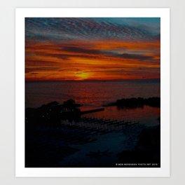 Lake Michigan Sunrise l'Orange (Chicago Sunrise/Sunset Collection) Art Print