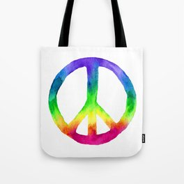 Rainbow Watercolor Peace Sign Tote Bag
