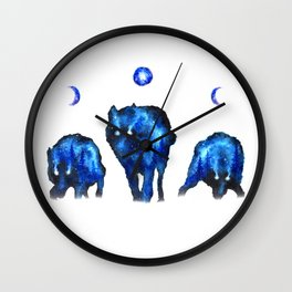 Full Moon Wolf Pack   Moon Phase Artwork   Lunar Phase Art   Space Wolves Wall Clock