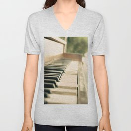 Tickling The Ivories Abandoned Piano Urban Exploration, Urbex, Music, Musical Instrument Unisex V-Neck
