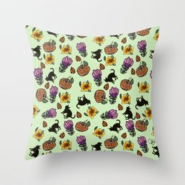 Pumpkin and cats  -Halloween Throw Pillow