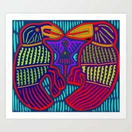 San Blas Twin Parrots Art Print
