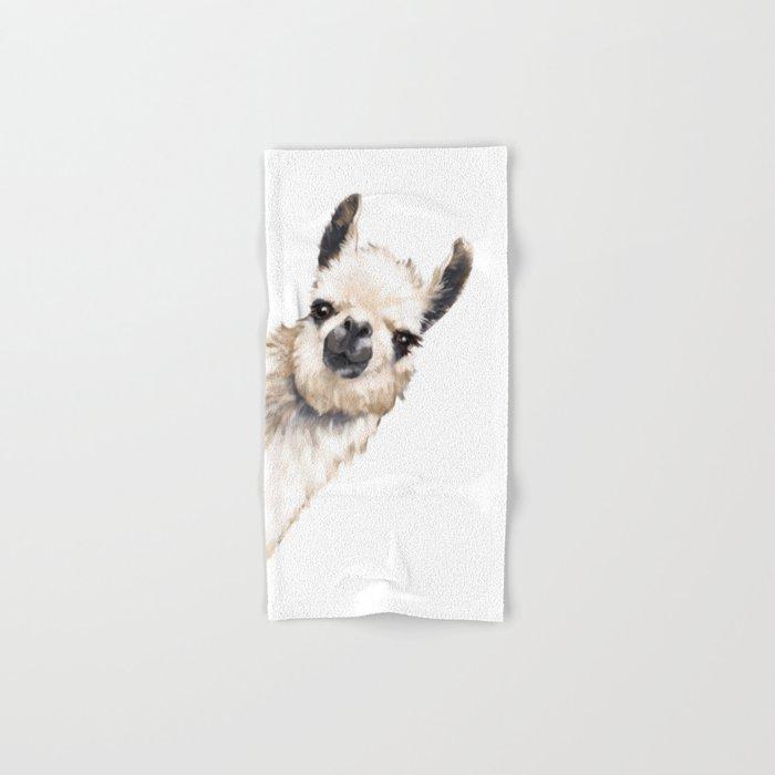 Sneaky Llama White Hand & Bath Towel