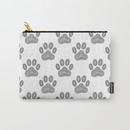 Tribal Ink Dog Paw Pattern In Black Carry-All Pouch