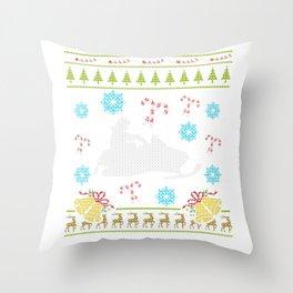 Snowmobile Christmas Ugly Sweater Design Shirt Throw Pillow