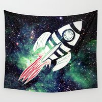spaceship Wall Tapestries featuring Spaceship by Cs025