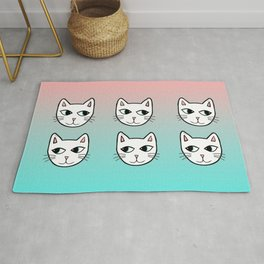 Whimsical White Cats Mint Pink Pattern Rug