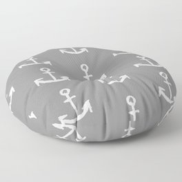 Anchors - Gray with White Floor Pillow