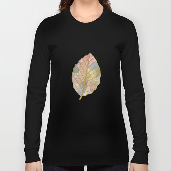 Colored Leaf Pattern Long Sleeve T-shirt