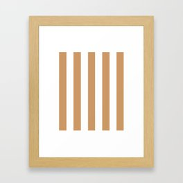 Brown Yellow - solid color - white vertical lines pattern Framed Art Print
