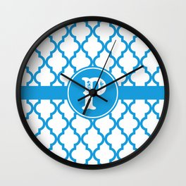 Blue Monogram: Letter P Wall Clock