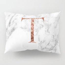 Monogram rose gold marble T Pillow Sham