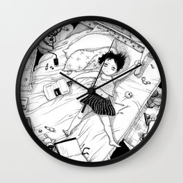Monochrome Surrealistic Illustration:Hold Your Ankle in My Messy Bedroom Wall Clock