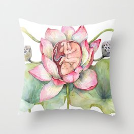 Cute Baby in a Lotus, Spring Blossom Throw Pillow