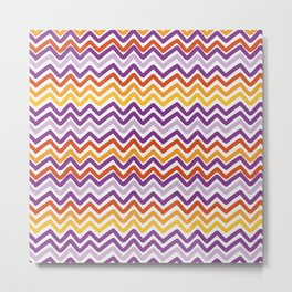 Colorful Hand Drawn Wave Lines Pattern Metal Print