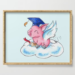 Winged Piggy Grad Serving Tray