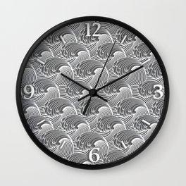 Vintage Japanese Waves, Gray / Grey and White Wall Clock