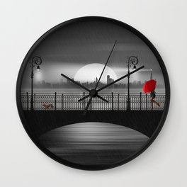 The bridge in the summer rain Wall Clock