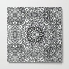 White grey round ornament Metal Print