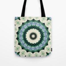 White Flower and Cerulean Blue Mandala Tote Bag