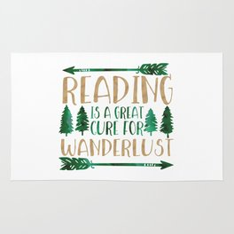 Reading is a Great Cure for Wanderlust (Green/Brown) Rug