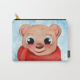 Cute Bear Winter Watercolor Illustration Carry-All Pouch