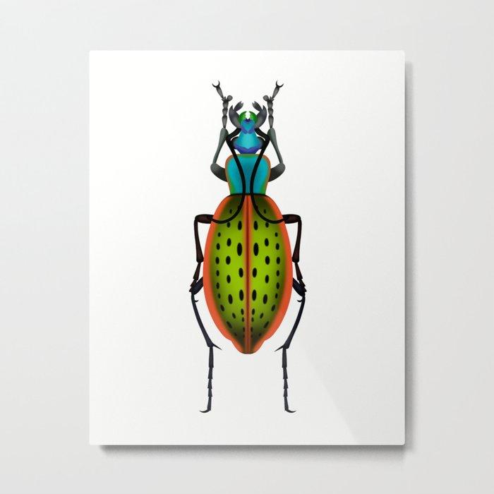 Green Dot Beetle Metal Print