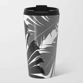 Tropical Leaf Silhouette in Gray Palette Travel Mug