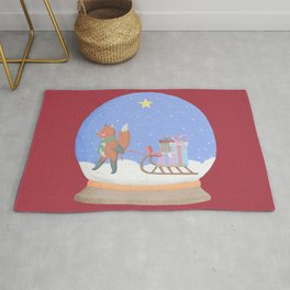 Fox Sled Gifts in Snow Globe Rug